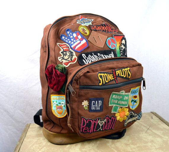 Vintage 1990s GRUNGE Jansport Backpack  Leather by RogueRetro