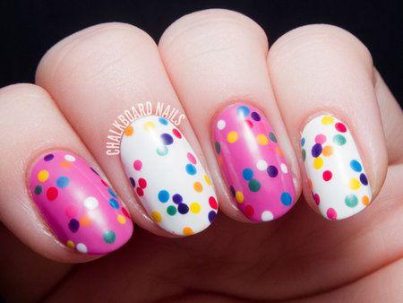 Pokadot nail polish #colorful #skittlemani #chalkboardnails #nailart