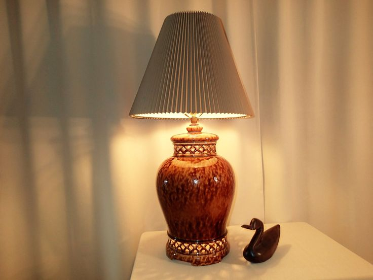 85 best vintage lamps and lighting images on pinterest vintage table lamp gingerjar large mid century lamp shade not included earth tones mottled glaze cut out mood light base vintage lamp keyboard keysfo Image collections