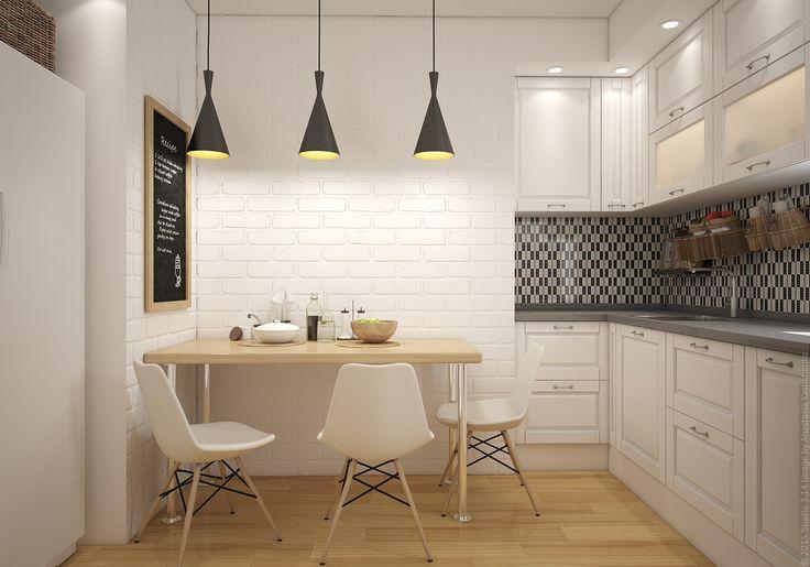 Доска для записок на белой кухне. Дизайн интерьера квартиры на севере Москвы.