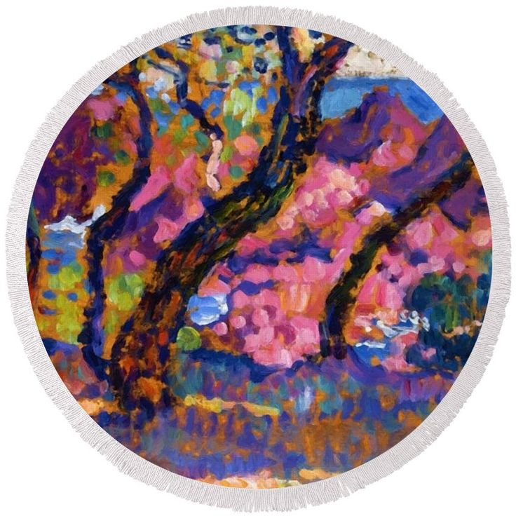 In Round Beach Towel featuring the painting In The Shade Of The Pines Study 1905 by Rysselberghe Theo van