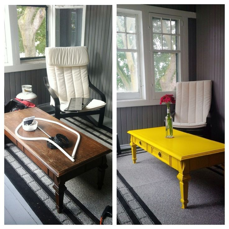 Yellow coffee table DIY...I love the bright color, but I don't think white furniture would be a good idea for me.  We'll see how it works.  Maybe a brightly colored nightstand?