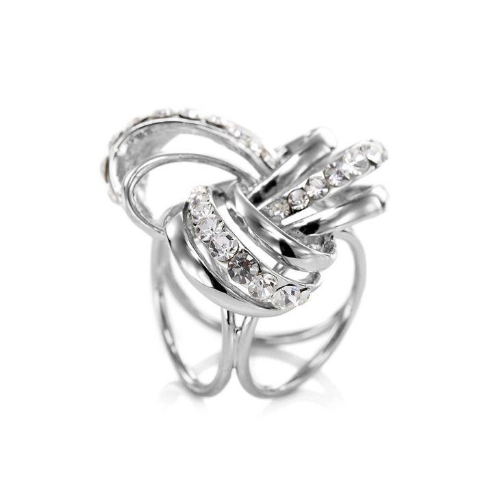 Rhinestone Knot Silk Scarf Ring Buckle Silver
