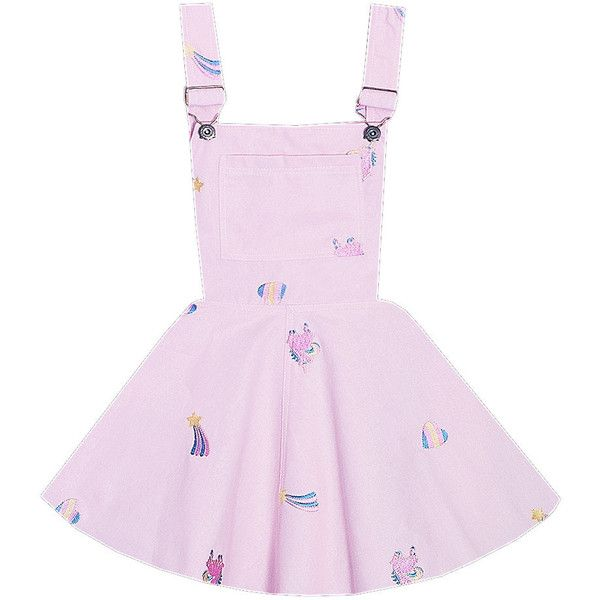 Magical Unicorn Overalls Dress Bonne Chance Collections ($49) ❤ liked on Polyvore featuring overalls and skirts