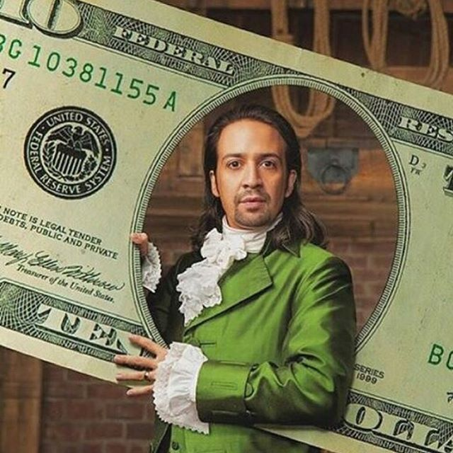 Please enjoy this picture of Lin-Manuel Miranda pretending to be a $10 bill. (Next year's Halloween costume...?)