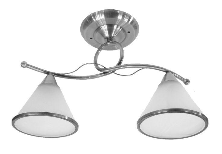 Ras de plafond deux lumières, finition chrome