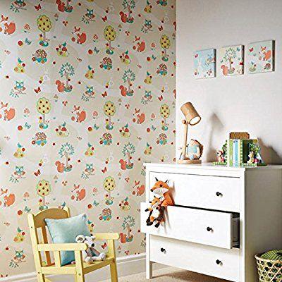 Fabulous Tapete Kinderzimmer Beige niedliche Wald Tiere sch ne s e Tapete f r das Babyzimmer inklusive