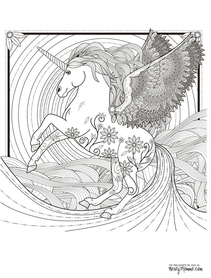 11 free printable adult coloring pages - Art Nouveau Unicorn Coloring Pages