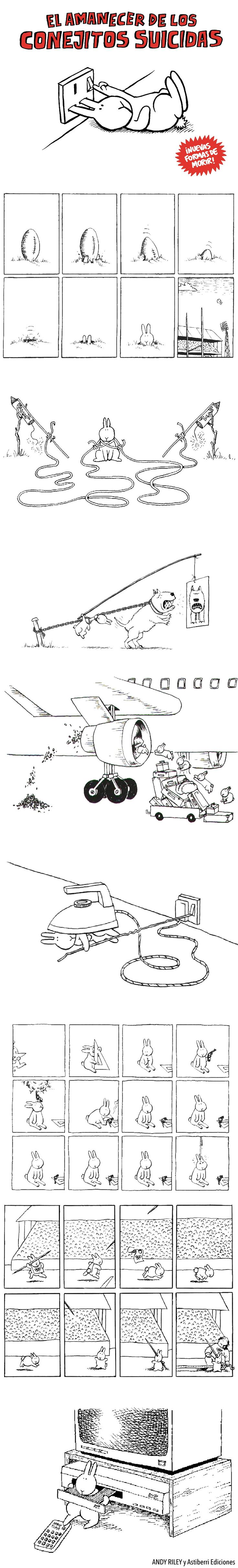 El amanecer de los conejitos suicidas. Nuevas formas de morir por el dibujante Andy Riley. Astiberri Ediciones.