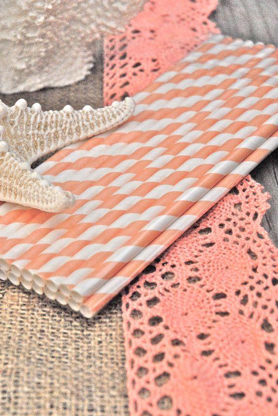 "Paper Striped Coral, Peach, Orange, Vintage faded  Soda Drinking Straws Packs of 25 -  Beach , Spring, Bridal Shower, Wedding, 10.5"" Tall. $5.50, via Etsy."