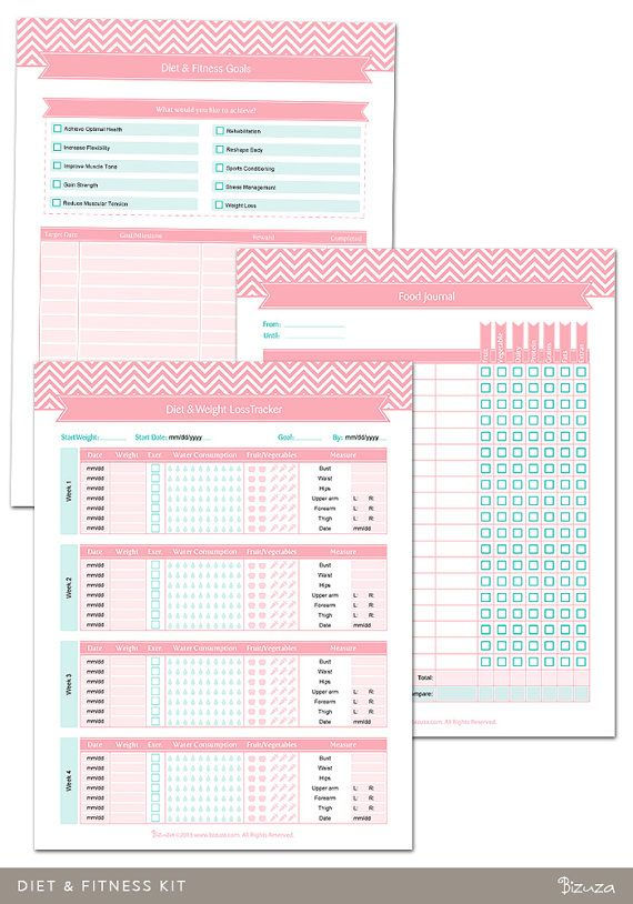 Diet Tracker & Fitness Planner Printable Kit, 11 Editable ...
