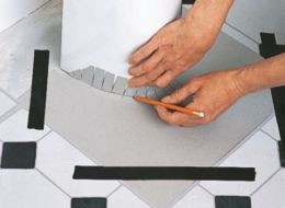 How to cut in self adhesive floor tiles