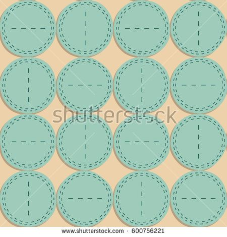 Beige background with round stitched pieces of fabric and turquoise seams #vectorpattern #patterndesign #seamlesspattern