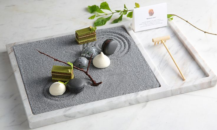 Zen Garden | Matcha opera cake, jasmine macaron, passion fruit marshmallow, coconut dark chocolate by chef Vicky Lau. - See more at: http://theartofplating.com/editorial/qa-vicky-lau-on-the-harmony-of-food-art/#sthash.wtVto9i5.dpuf