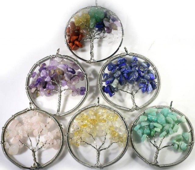 "Six Tree of Life Gemstones jewelry JGG 187  6 xNATURAL GEMSTONES SET ""TREE OF LIFE'  JEWELLERY, FROM JEWELLERYAUCTIONS.COM"