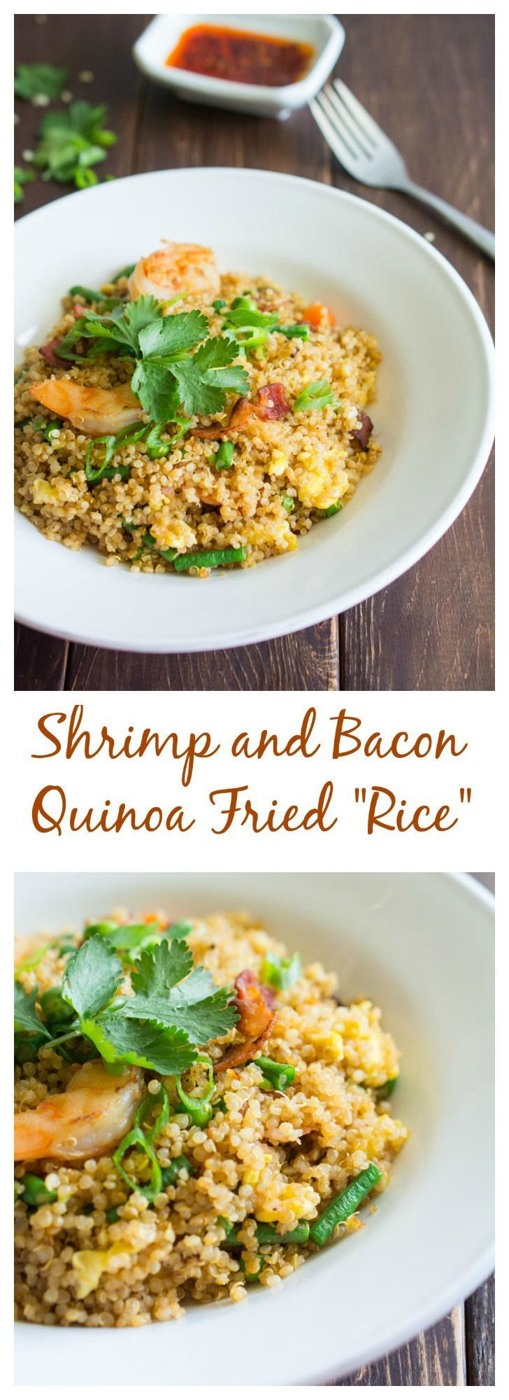 "This Bacon and Shrimp Quinoa Fried ""Rice"" is a healthy and delicious alternative to fried rice. Packed with protein and nutrients. Easy to prepare."
