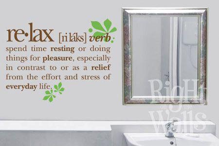 Relax Definition Spa Bathroom Wall Decals, Vinyl Art Stickers