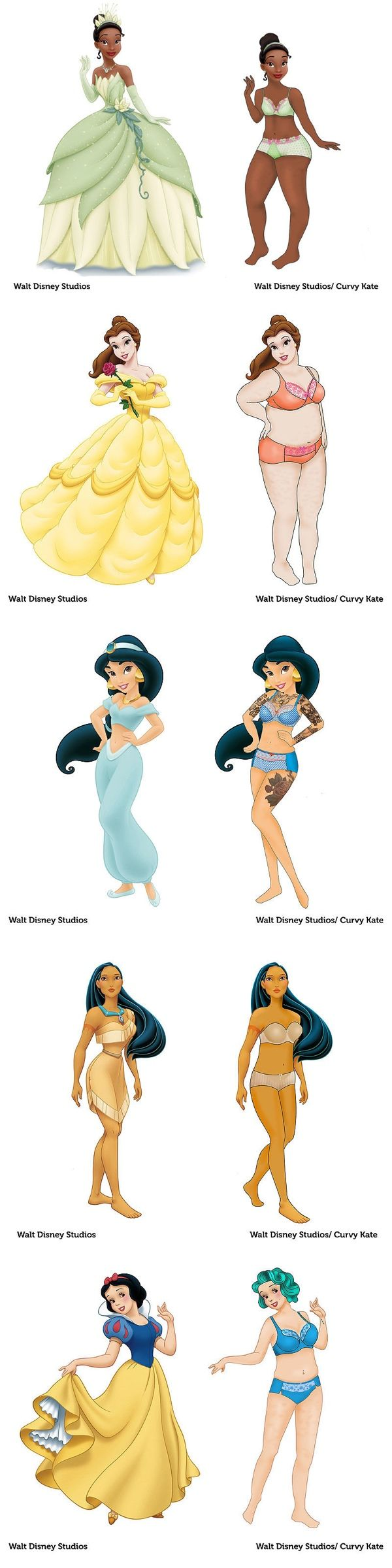 someone drew the disney princesses with normal bodies and