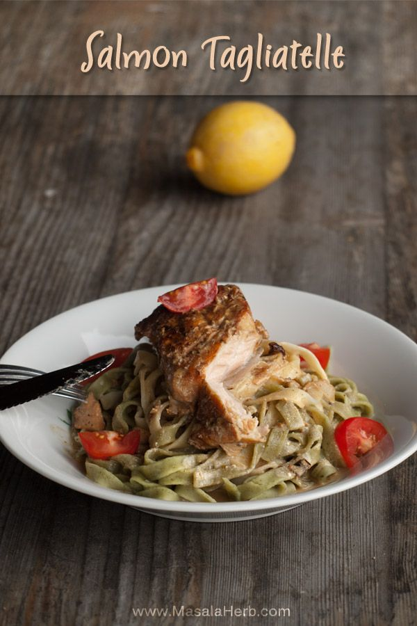 fresh salmon tagliatelle with white wine sauce, quick and easy weeknight dinner recipe with fresh protein rich and healthy fish masalaherb.com
