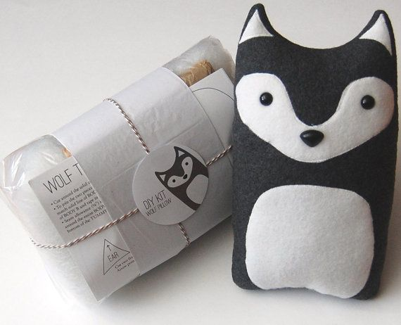 Plush Craft Animal Friends Pillow Kit : DIY Kit Wolf Woodland Pillow Plush - Fleece Fabric Animal Plushie - Do It Yourself Craft for ...