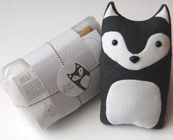 How To Make Stuffed Animal Pillows : DIY Kit Wolf Woodland Pillow Plush - Fleece Fabric Animal Plushie - D?
