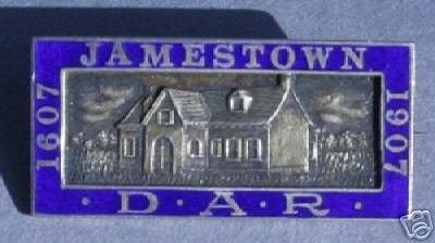 DAR Daughters of American Revolution blue enamel and silver pin. Jamestown 1607-1907 The back of the pin is marked Caldwell Silver The pin is in excellent condition, no damage.Measures 1 1/2 in wide a