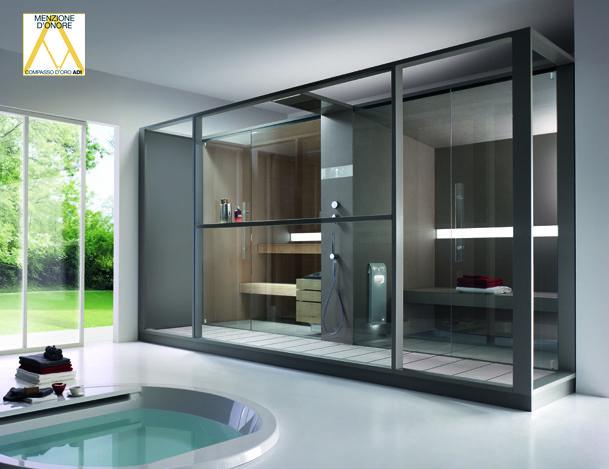 Logica Twin di #Effegibi completa un percorso iniziato da anni e combina in maniera armonica la #sauna finlandese e l'#hammam Il #design razionale consente di passare dalla sauna al #bagnoturco attraverso uno spazio che alloggia un soffione #doccia, quindi l'acqua, come elemento di congiunzione di due riti antichissimi. www.gasparinionline.it #bagno #casa #fineliving #style #relax #home #bathroom #love
