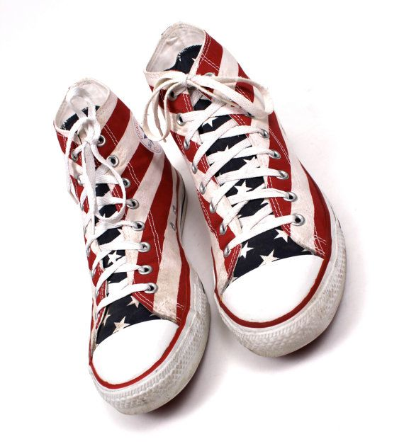 1990s vintage ALL STAR American Flag MENS Converse / by nanometer, $120.00