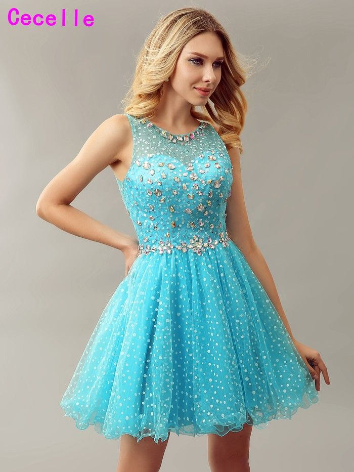 ==> [Free Shipping] Buy Best Sparkly Blue A line Short Girls Cocktail Dresses For Juniors Crystal Sheer Back 2017 Real Cute Teens Cocktail Party Dress Online with LOWEST Price   32819791181