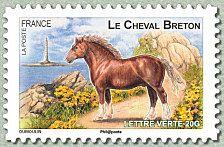 Le cheval breton Chevaux de trait de nos régions - Timbre de 2013