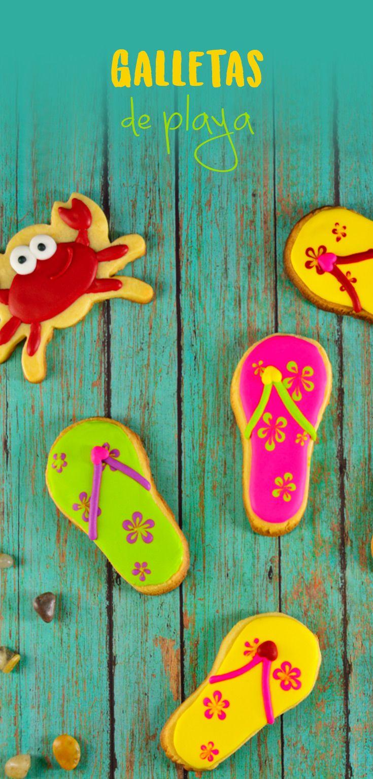 Decora las galletas de mantequilla con temática de playa, este tip te mostrará como hacer cangrejos y chanclas. Perfectas para regalar, o una fiesta temática.