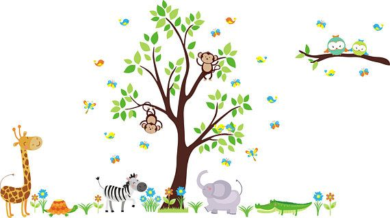 Nursery Room Decals  Baby Room Wall Stickers  Jungle Animal