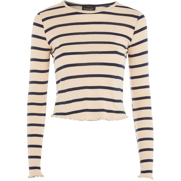 TopShop Petite Stripe Lettuce Long Sleeve T-Shirt ($26) ❤ liked on Polyvore featuring tops, t-shirts, nude, striped long sleeve tee, petite tee, striped tee, longsleeve t shirts and long sleeve tees