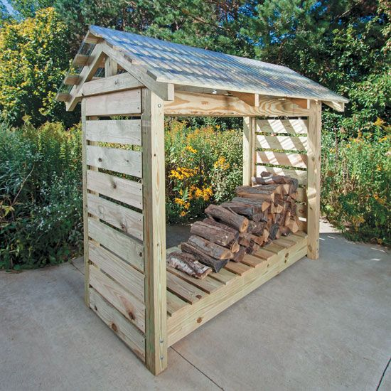 By making your own firewood shelter, you can keep your firewood dry during snowy or rainy days.data-pin-do=