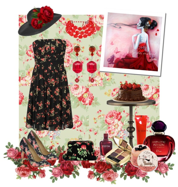 """""""Red roses on black"""" by fiordiluna on Polyvore"""