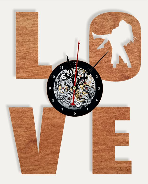 """Great gift for Valentine's Day or just for someone you love. Wooden handmade wall clock """"LOVE"""" The size of the clock: 30sm. * 25sm. The item comes in a protected box and can be gift-wraped."""