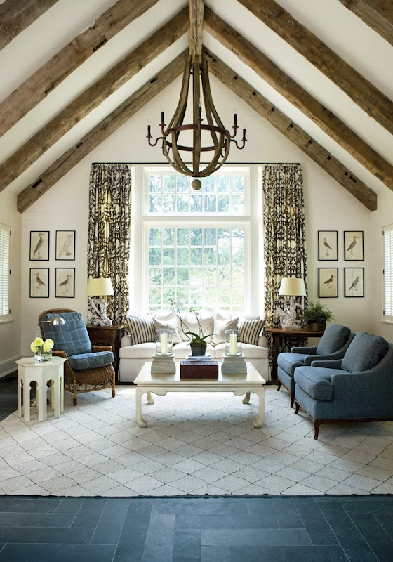 Best 25 exposed beam ceilings ideas on pinterest wood for Vaulted ceiling with exposed trusses