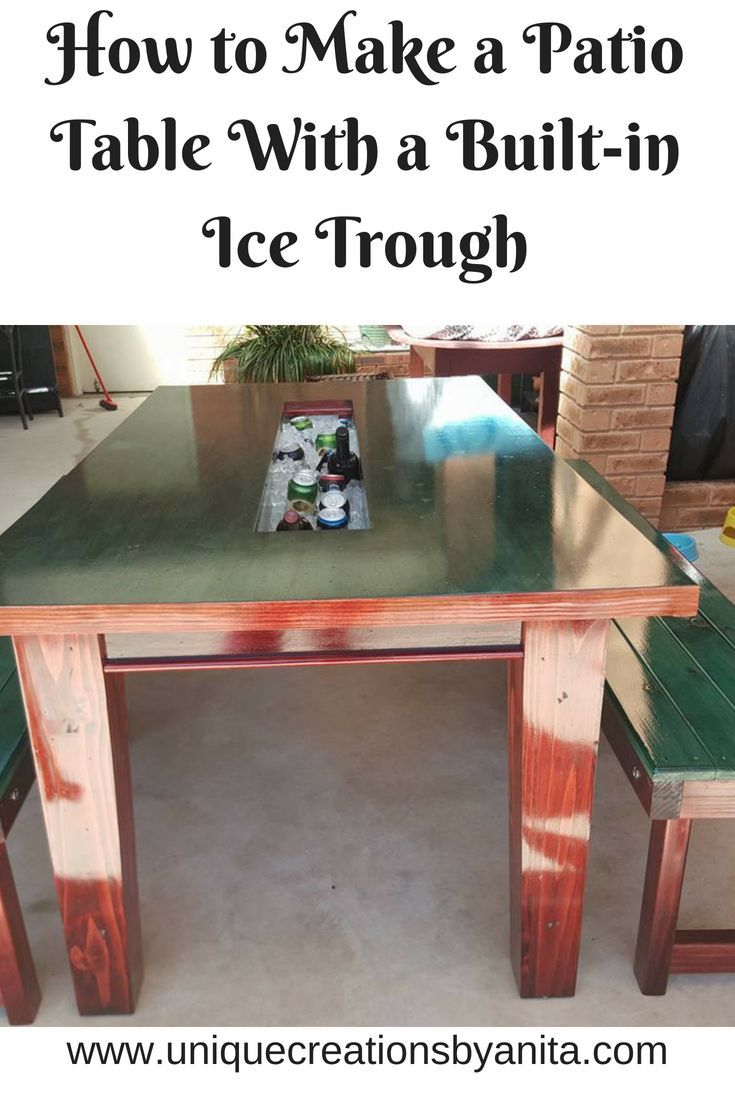Build this great patio table with a built-in ice trough for your next party or BBQ. Great for when family and friends get together.