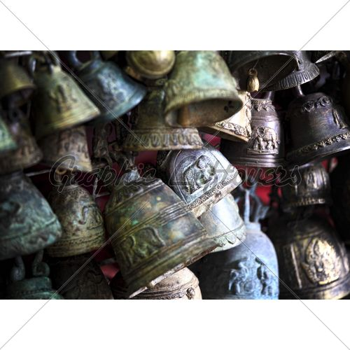 Detail Of Ancient Rusty Metal Bell Background