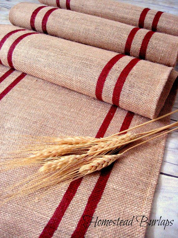 Burlap Table Runner with red hand painted grain sack stripes / French Country Runner / Rustic Decor / French decor / Choose Color / Gift