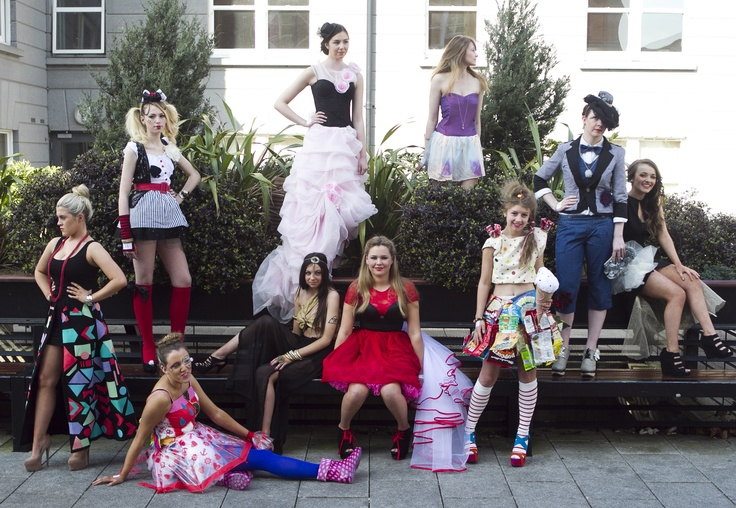Budding fashion designers are pictured at #GriffithCollege for #ReinventFashion 2012. The annual schools competition has become synonymous with sustainable fashion and is a celebration of eco-friendly design and innovation. Each year Reinvent Fashion challenges transition, fifth, sixth year and FETAC students from around Ireland to construct a ladies outfit from second hand garments and raw materials.