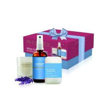 In Essence Wish for Serenity Gift Collection - Onefloor.com.au $24.95. Serenity is close at hand with In Essence Sleep Easy Pillow Mist, Lavender Candle and Lavender Body Bar. Essential oils of Lavender and Roman Chamomile will help you unwind and relax to prepare you for a peaceful night's sleep.