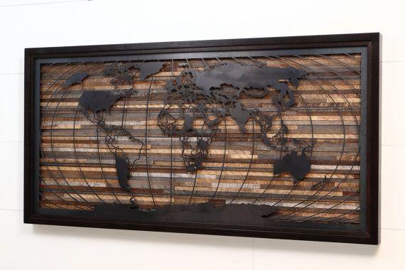 World map artwork made of old barnwood and by CarpenterCraig, $1800.00