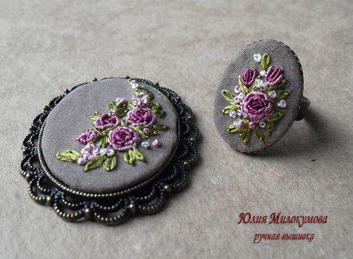 комплект, вышивка рококо