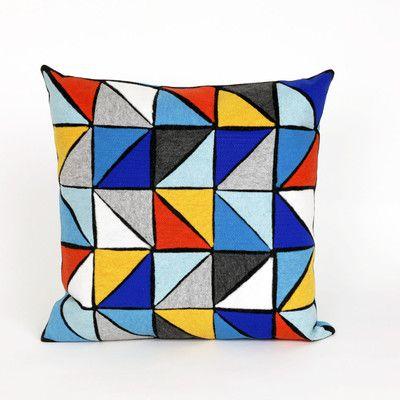 Zipcode Design Ayla Triangles Throw Pillow Color: Blue