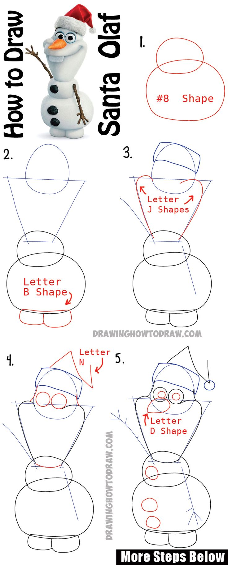 How to draw batman easy drawingnow - How To Draw Olaf With Santa Claus Hat On Step By Step Drawing Tutorial How To Draw Step By Step Drawing Tutorials
