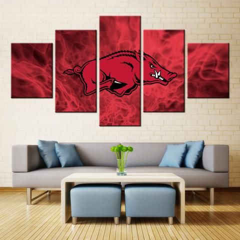 5 Panel Arkansas Razorbacks Sports Team Printed Canvas Wall Art
