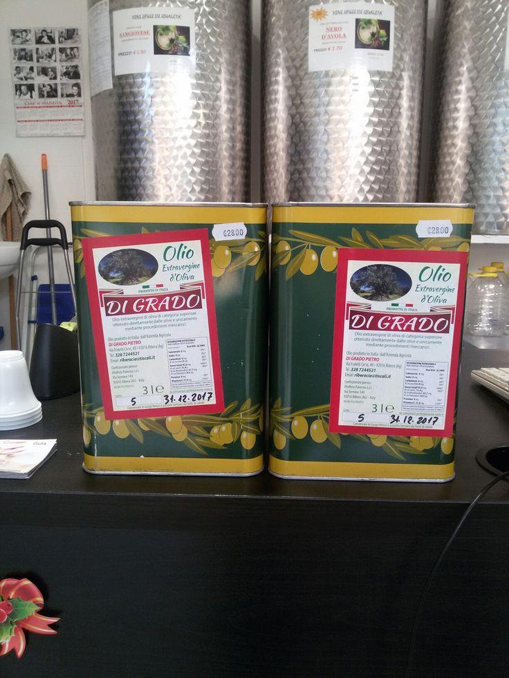 Olio extravergine d'oliva di Ribera  (AG) di categoria superiore  ottenuto direttamente dalle olive e unicamente mediante procedimenti meccanici. 1 LT 9.50 € 3 LT 28 € 5 LT 47€
