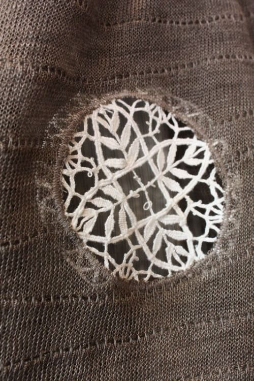 Use a piece of lace to mend a sweater