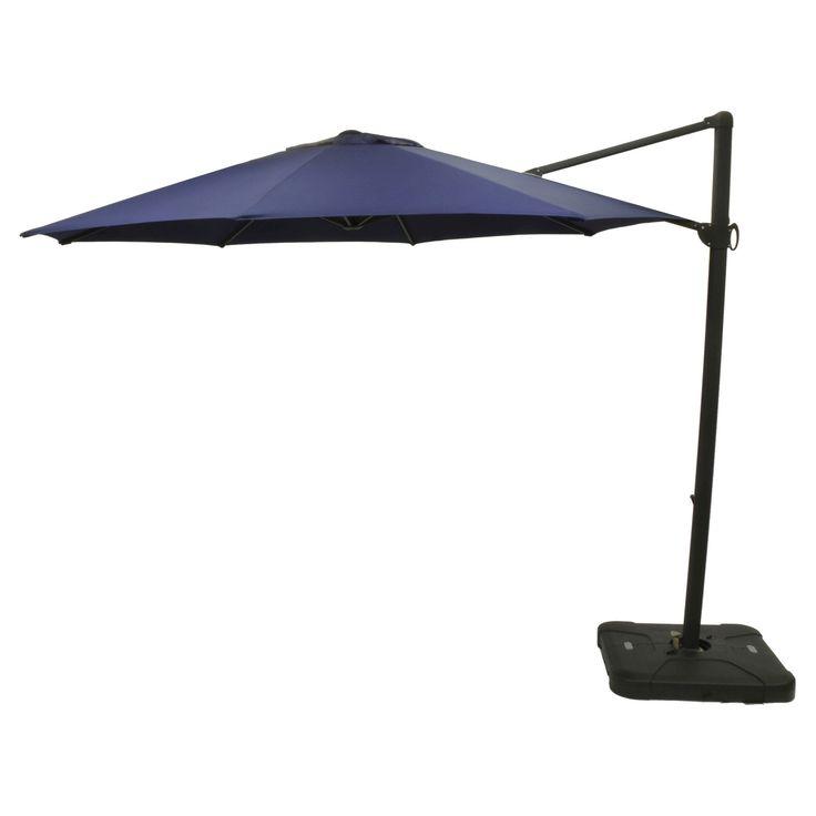 11' Offset Sunbrella Umbrella - Canvas Navy (Blue) - Black Pole - Smith & Hawken